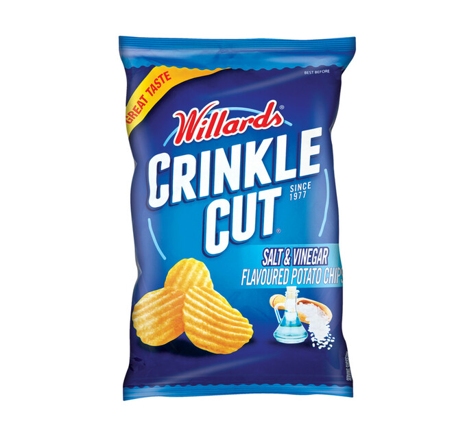Willards Crinkle Cut Potato Chips Salt & Vinegar (1 x 125g)
