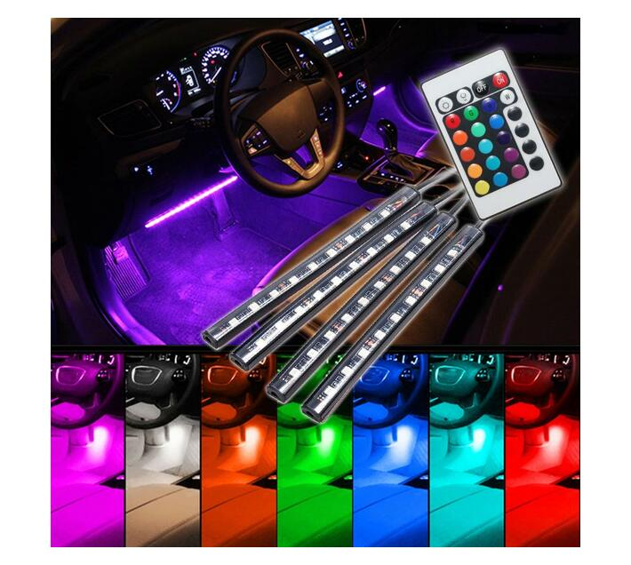 RGB Car Atmosphere Strip Light With Wireless Remote Control 9 LED