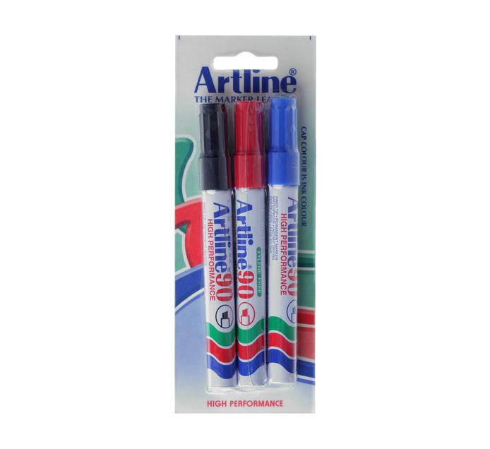 Artline EK90 Permanent Markers Chisel Assorted 3-Pack Assorted