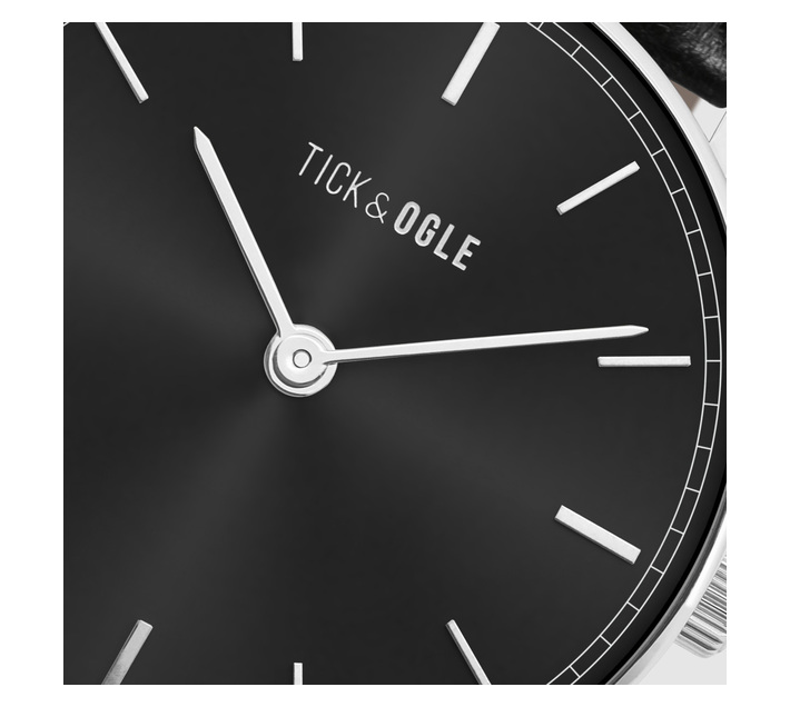 Tick & Ogle Mens Watch with Bold Black Dial & Black Leather Strap