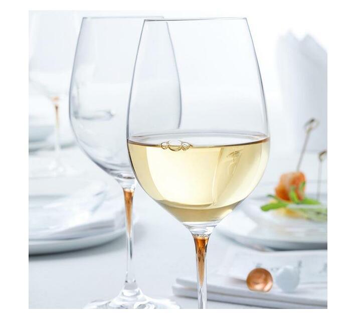 Leonardo Clear Wine Glass with Chestnut Brown Stem LA Perla Set of 2
