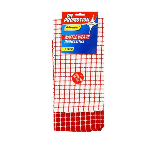 Goldenmarc 2-Pack Waffle Weave Check Dish Cloth