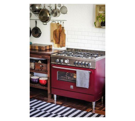 LA GERMANIA 90cm Americana Freestanding Stove 5 Gas Burner Hob with Electric Oven Burgundy AMS95C61LBVI