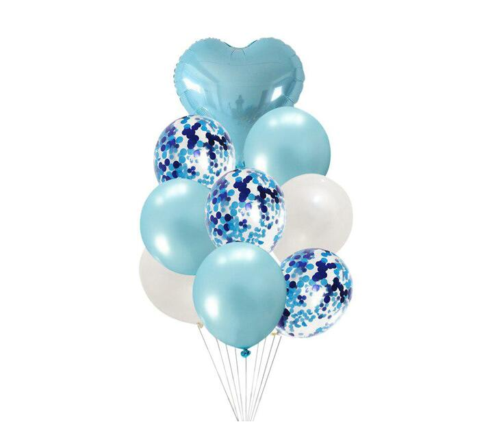 BubbleBean - Blue & White Bunched Balloon 9pc