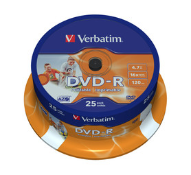 VERBATIM 4.7 GB DVD-R Spindle (25 Pack)
