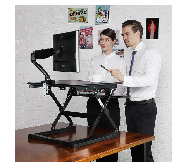 Flexispot M2B 35` Sit-Stand Standing Desk Converter with Tablet Groove