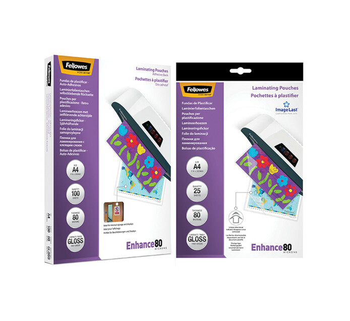 Fellowes A4 80 Micron ImageLast Laminating Pouches 125-Pack