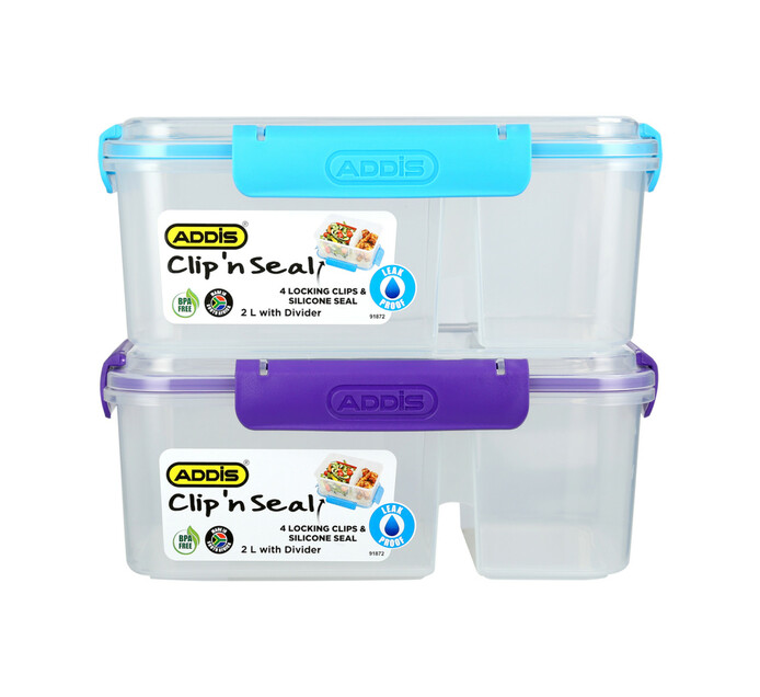 Addis 2 l Clip 'n Seal Divider Lunch Box