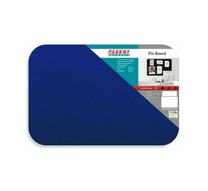 Parrot 600 x 450 mm No Frame Pin Board Blue