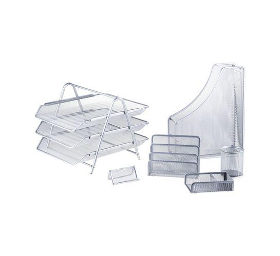 Kenzel No. 19 Metal Desk Set 6-Piece Silver