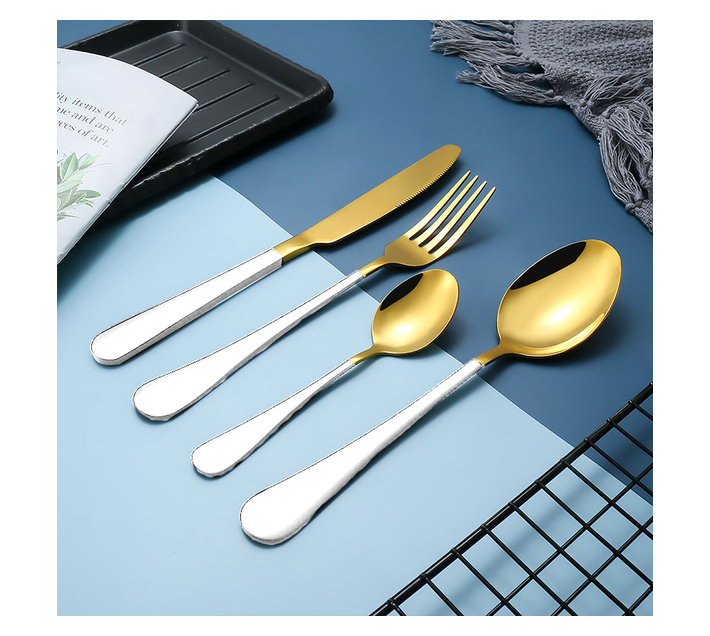 LMA Authentic Two-Tone Cutlery Dinner Set & PVC Pack - 24 Piece - White