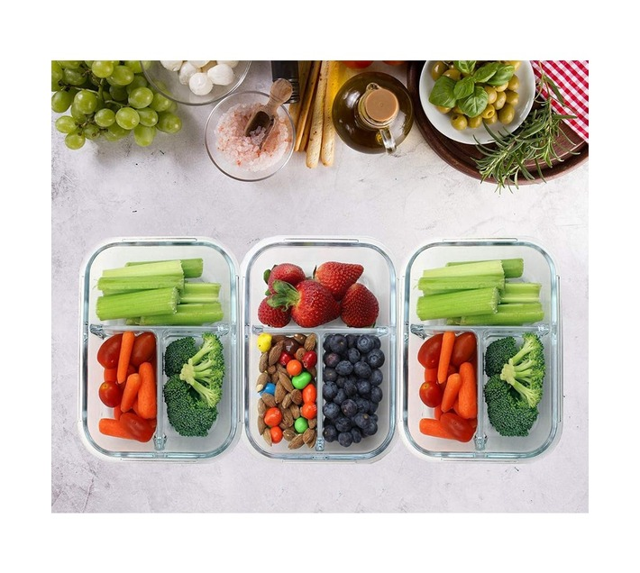 3-Piece Oven Safe Borosilicate Glass Storage Containers with Dividers