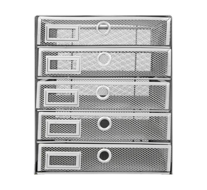 ARO Storage Cabinet Silver 5 Drawer