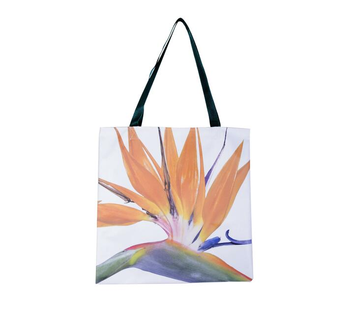 Tote Bag with strelitzia floral print.
