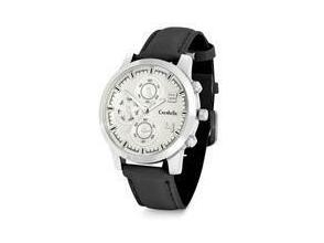 Mens round silver tone watch with black leatherette strap and silver bezel