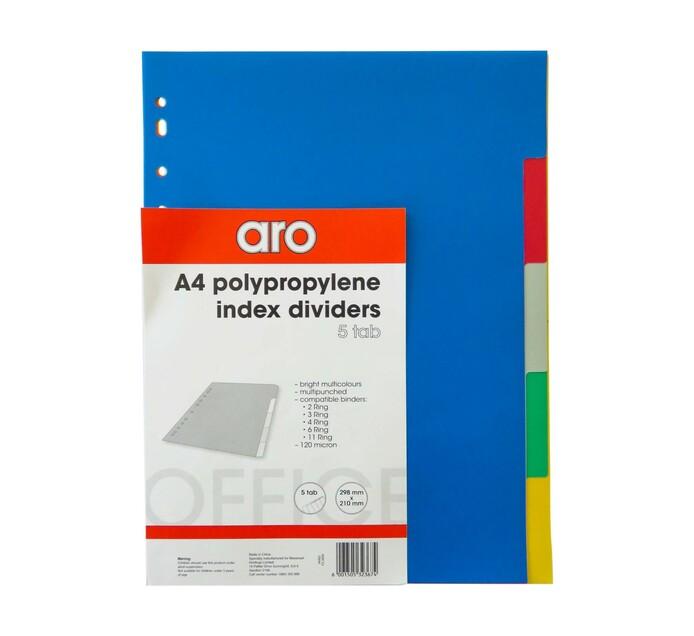 ARO A4 PVC File Dividers 5-Tab