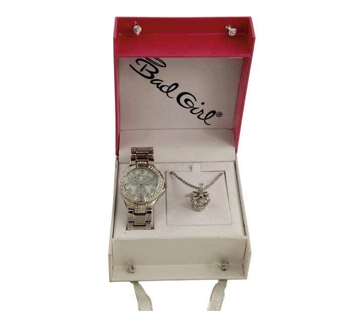 Bad Girl Steel Alloy Watch & Matching Necklace Set