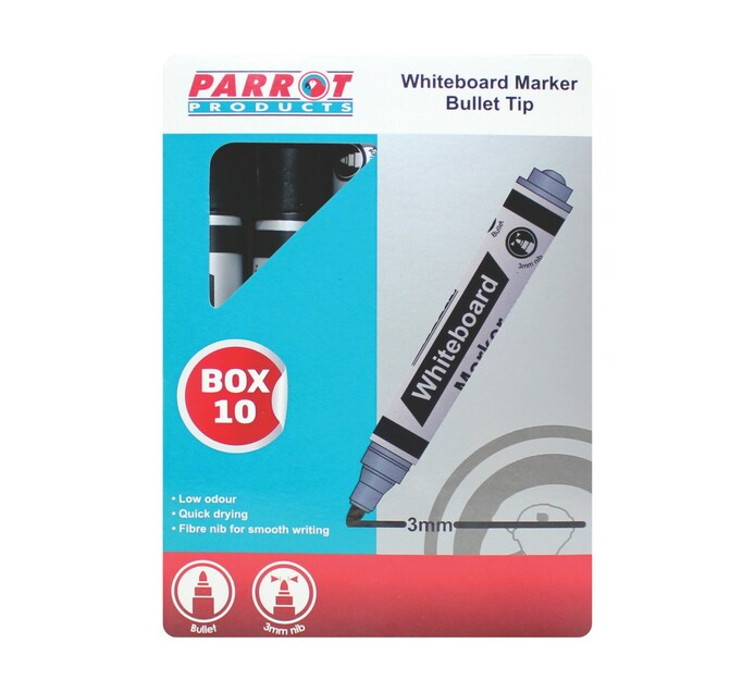 Parrot Whiteboard Marker Black 10-Pack