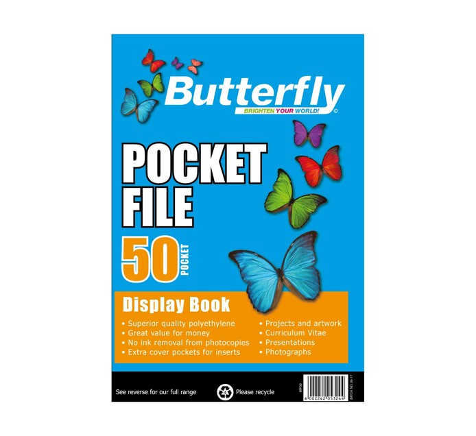 Butterfly A4 Pocket File Display Book 50-Pocket