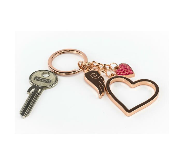 Troika Keyring with 3 charms Love Is In The Air Rose Gold