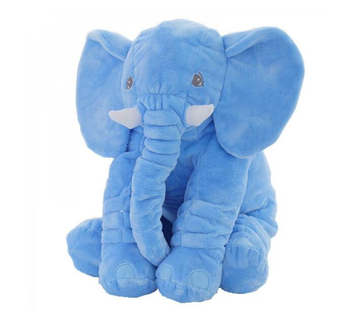 Plush Elephant Pillow - Blue
