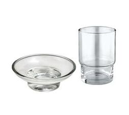 Toothbrush + Soap Dish Round Glass Replacement - Transparent Combo