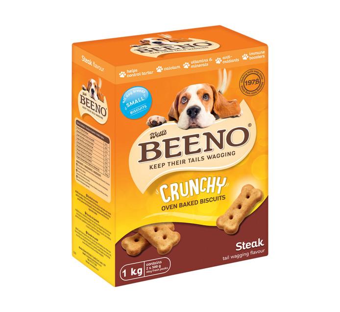 BEENO DOG BISCUITS 1KG, STEAK SMALL