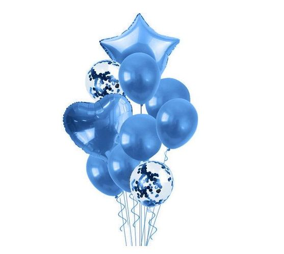 Bubblebean- Royal Blue Bunched Party Helium Balloons - 10 Piece