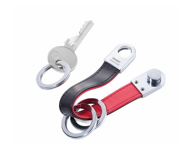Troika Keyring with Red and Black Leather Strap and Rounded Twist-Lock TWISTER STYLE