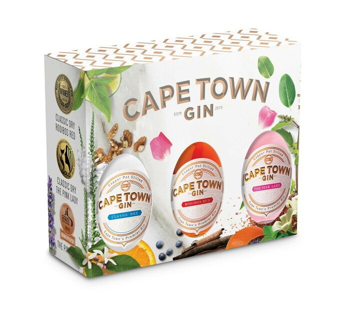 Cape Town Dry , Pink & Rooibos Mini Gin Triple Pack (3 x 50ML)