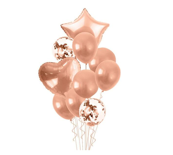 Bubblebean- RoseGold Bunched Party Helium Balloons - 10 Piece