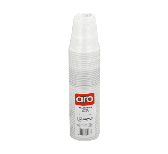 ARO Plastic Cups White 250ml (1  x 50)