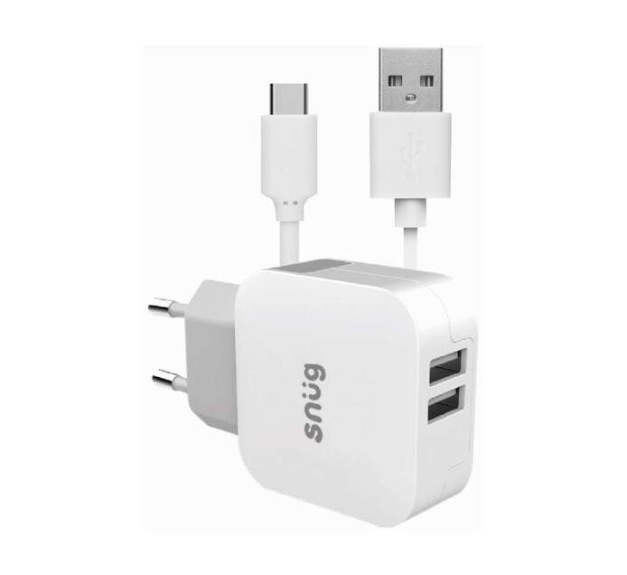 Snug 2 Port 3.4AMP charger + Typce C Cable White