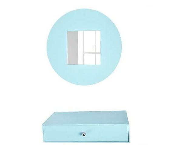 Mirror and drawer set -light blue set