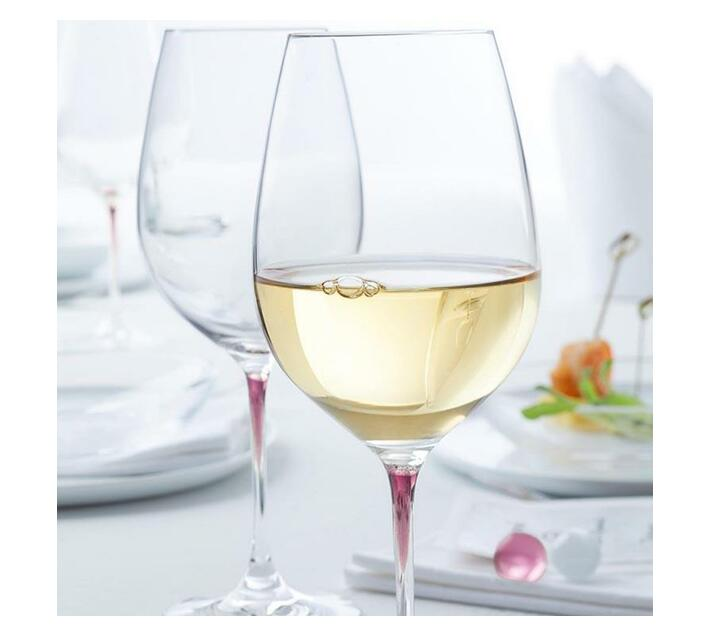 Leonardo Clear Wine Glass with Purple Stem LA Perla Set of 2