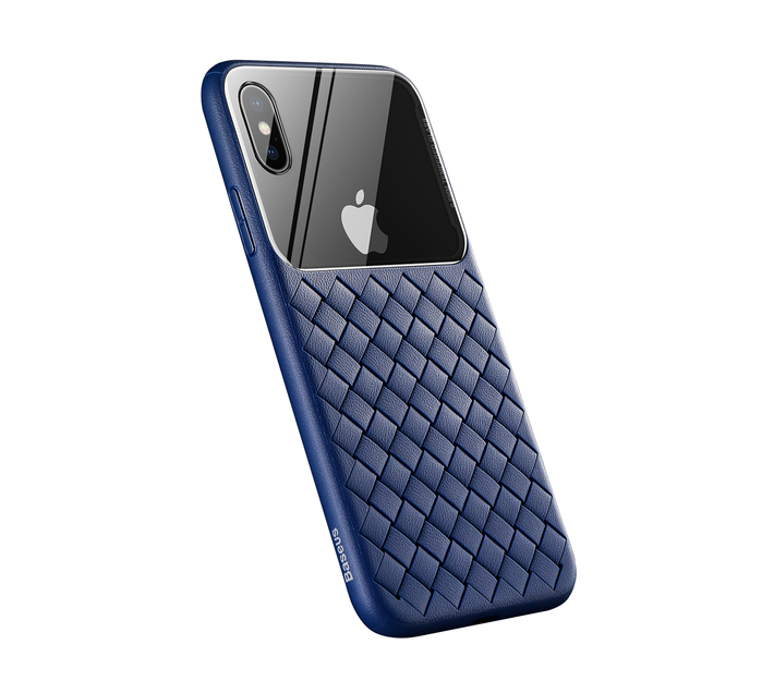 Baseus Tempered Glass & Weaving Case for iPhone X & XS - Blue