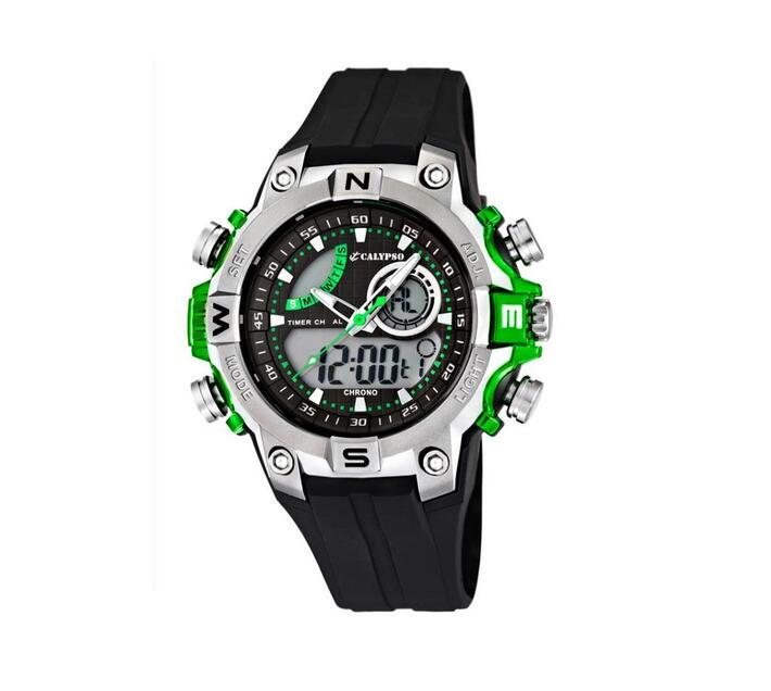 Calypso Digital & Analog Mens Week Indicator Watch - Green & Black - X-Trem Collection