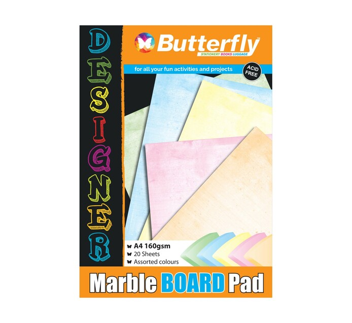 Butterfly A4 Project Board Assorted 20 Sheets