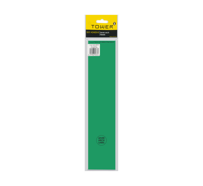 Tower Lever Arch Labels Green 12-Pack Green