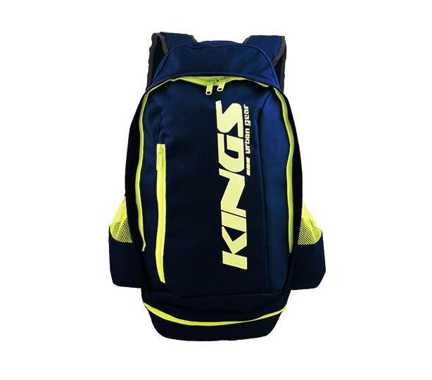 2619 Navy A-Symmetrical kings urban gear printed logo sports backpack.