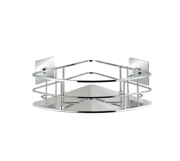 WENKO Turbo-Loc Stainless Steel Corner Shelf Quadro Range - No Drilling Required