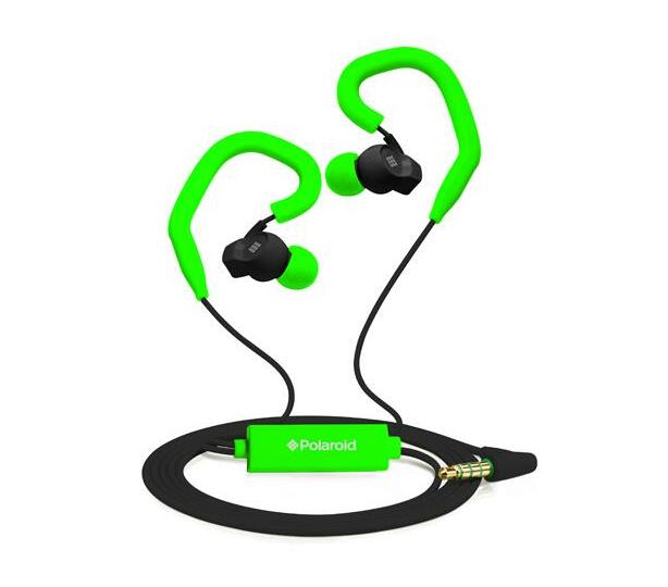 Polaroid Sports Earbuds with Built-in-Mic and Removable Ear Hooks- Green