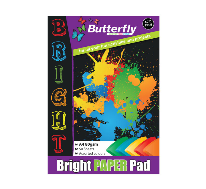 Butterfly A4 Paper Pad Assorted Bright 50 Sheets