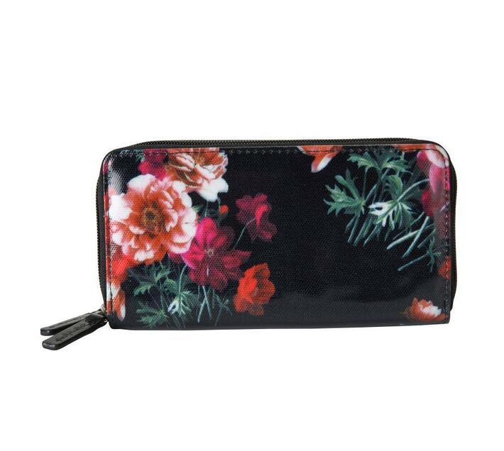 Oilskin Two Zip Wallet - Dark Floral