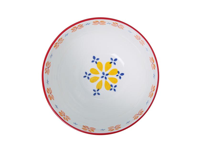 Ceramic Hand Painted 21cm Bowl - Yellow