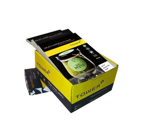 A4 Inkjet - Laser Labels - W117 - 50mm Diameter - 15UP - 1000 Sheets