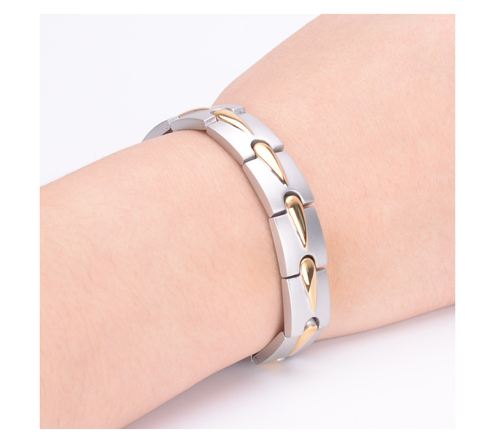 Grey and Gold Magnetic stainless steel health bracelet