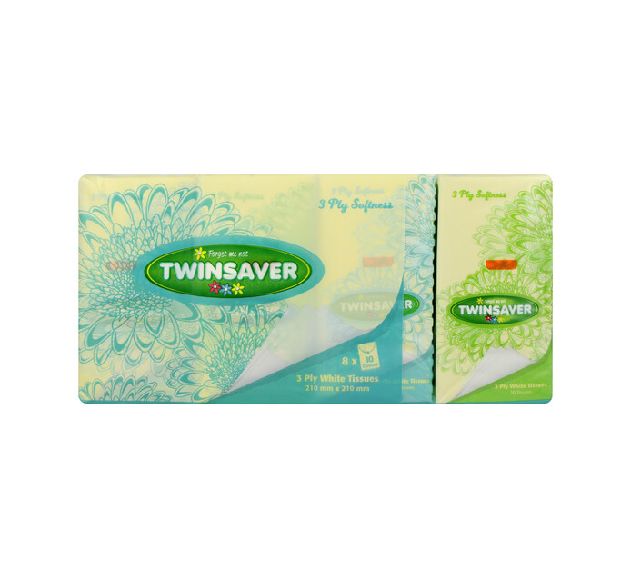 Twinsaver Facial Tissues 3ply Pocket Pack Ladies (1 x 8's)