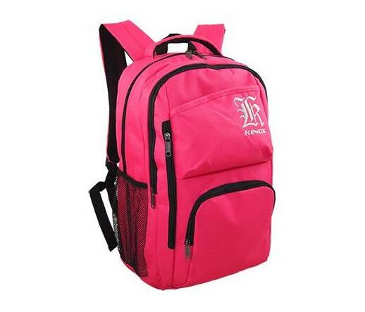 2615 A-Hot pink symmetrical Embroidered logo center front backpack