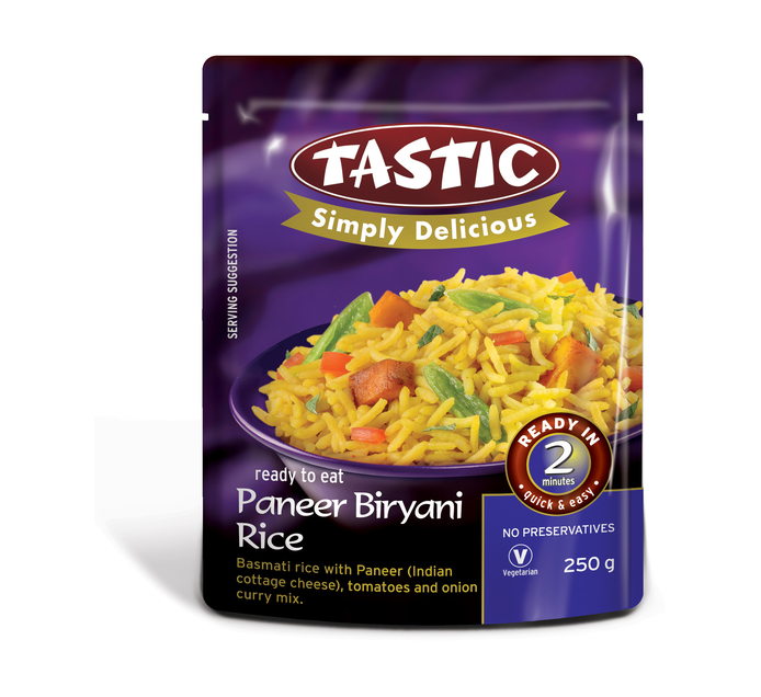 TASTIC Simply Delicious Ready-to-Eat Rice Brown Rice and Paneer Biryani (1 x 250g)